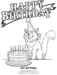 Birthday coloring pages giggletimetoys birthday cat5 bookmarktalkfo Image collections
