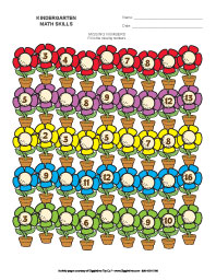 missing numbers  counting worksheets giggletimetoyscom kindergarten missing numbers  flowers