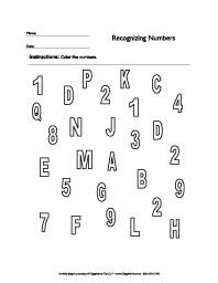 Identify Numbers Worksheets: Giggletimetoys.com
